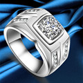 925 Sterling Silver male ring Platinum Plated wedding Rings with  large CZ diamond men engagement ring fashion jewelry