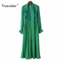Truevoker Spring Designer Dress Women S Long Sleeve Bow Collar Green Embroidery Cutout Patchwork Casual Mid