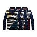 Rayas de la moda de nueva 100 de algodón de manga Larga camisa de POLO hombres de Tiburón camisas de marca Casual Slim Fit camisa tamaño grande marca hombre