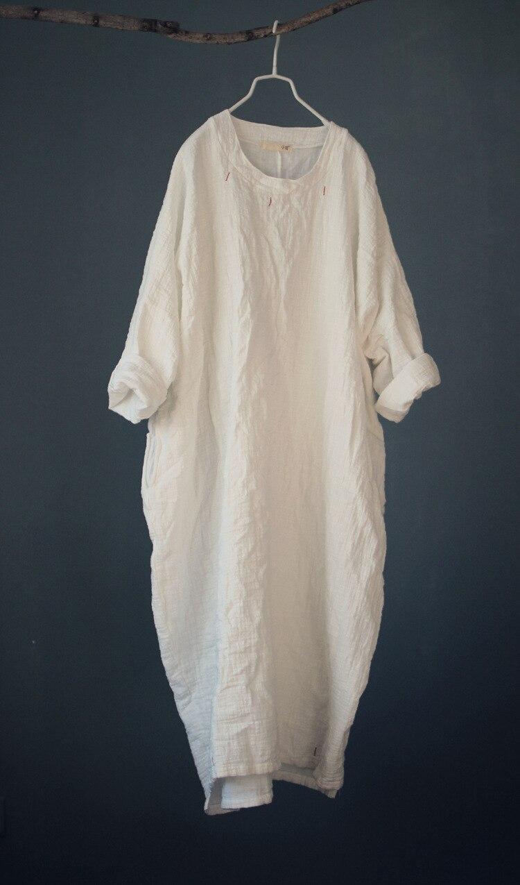 2018 Spring Embroidery Dress loose solid white black cotton linen dress Long maxi Robe Plus Size one piece maxi Vestido Feminino