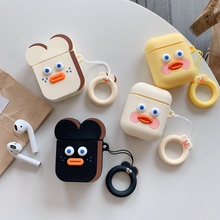 Cute Cartoon Earphone Case for Airpods Silicone Slim Soft Headphones Covers Box Protective Cover with Finger Ring Strap
