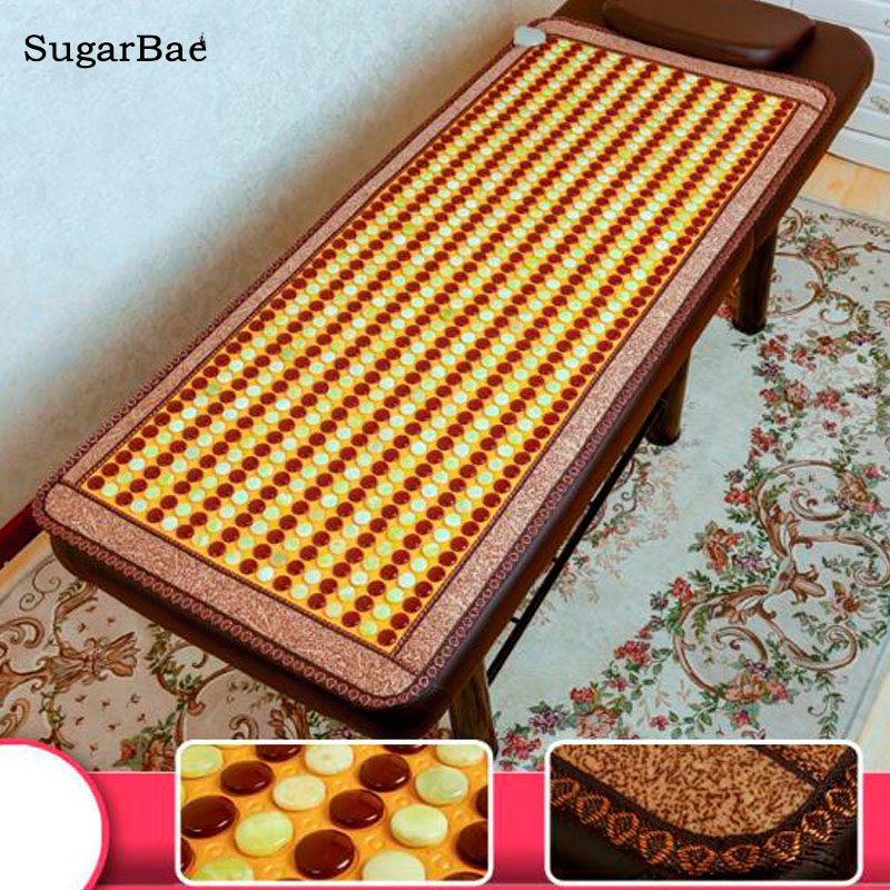 Electric Natural Jade&Tourmaline Heat Massage Mat Therapy Jade Massager for Stress Pain Relief For Sale chronic prostatitis treatment cushion far infrared heat plus vibration massage therapy for prostate discomfort relief
