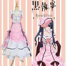 купить Black Butler Kuroshitsuji Ciel Phantomhive Sleeveless Lace Maid Court Full Dress Uniform Outfit Anime Cosplay Costumes по цене 1888.15 рублей