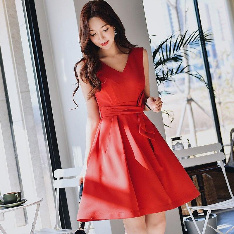 Dabuwawa Summer V Neck Bow Sexy Midi Dress for Girls Women Office Lady 2019 New Red