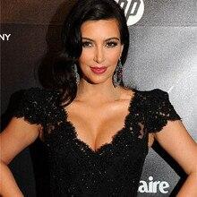 Сделаны по индивидуальному заказу Ким Кардашьян, знаменитость платья для красной дорожки украшенный блестками и бисером кружевное вечернее платье со шлейфом
