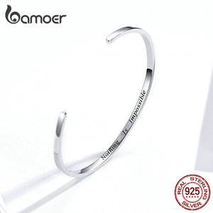 """Image 2 - bamoer Engrave Courage Bangle """"Nothing is impossible"""" Fashion Hot Sale 925 Sterling Silver Jewelry for Man and Women SCB160"""