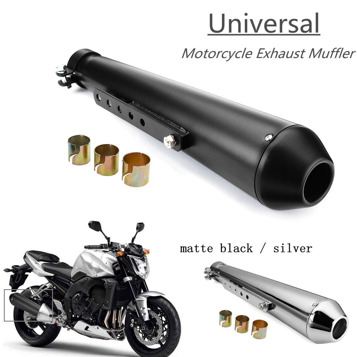 Moto Café Racer Tuyau D'échappement avec Étrier Coulissant Mat Noir Argent Universel
