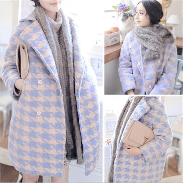 b329411d385 Новые зимние шерстяные пальто Для женщин Хаундстут Шерстяные пиджаки женские  универсальные двубортные Длинные куртки пальто C1184