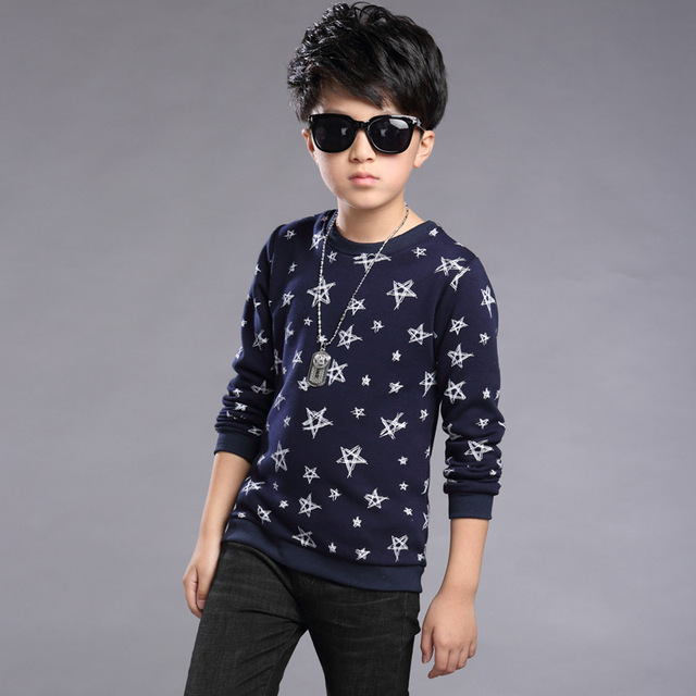 2016 Winter Autumn Boys Long-sleeves Shirts New Fashion Design Thick Velvet Warm Kids Clothes Casual O-neck Children's Tops Tees