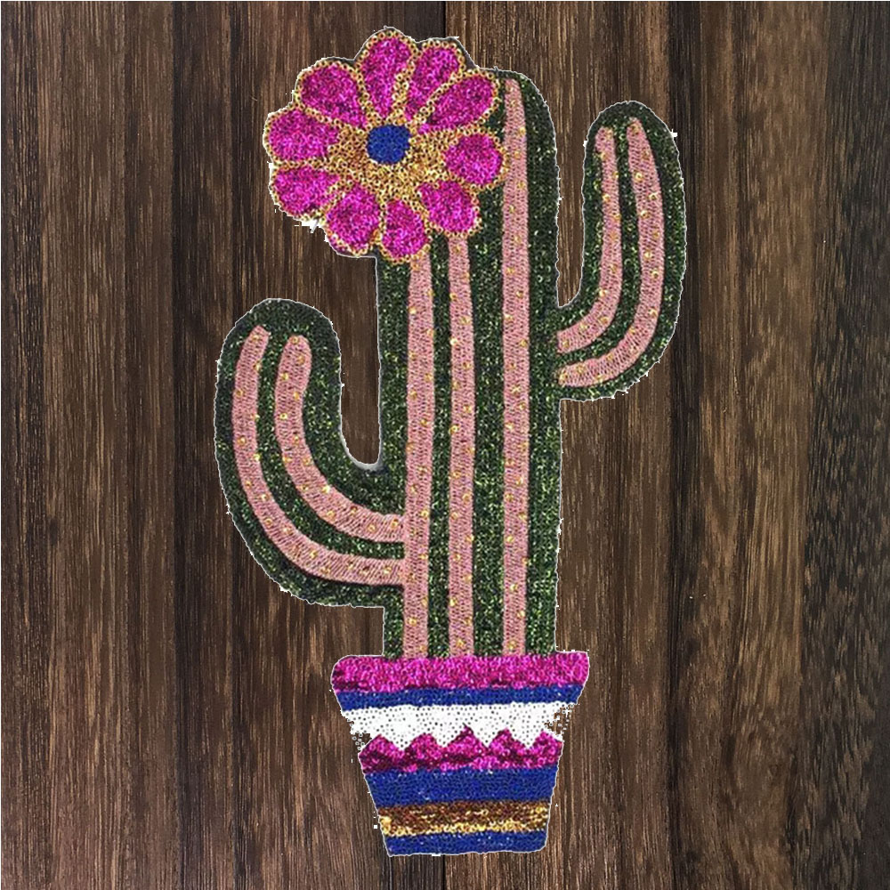 Independent 1pc Large Cactus Plant Patch For Clothing Iron On Embroidered Applique Cute Patch Fabric Badge Garment Diy Accessories Th1170 High Safety Arts,crafts & Sewing Home & Garden