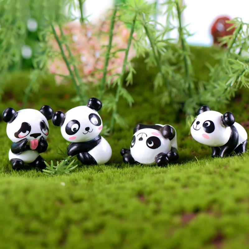 8pc PVC Little Panda Figurines Fairy Garden Miniatures Ornaments Sleeping Panda Dolls for Home Garden Decor