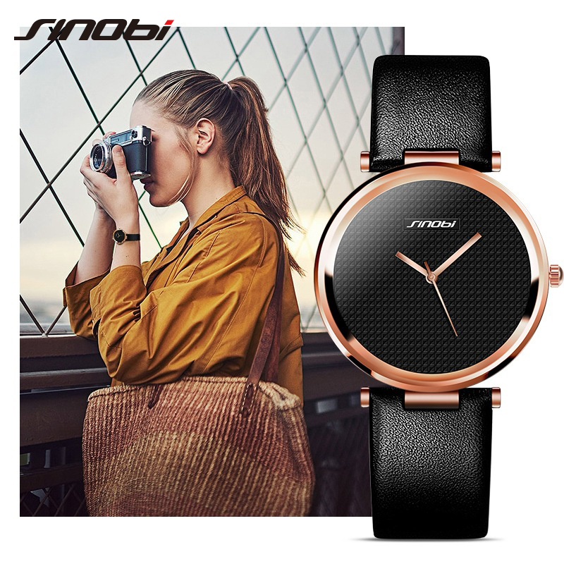 SINOBI Luxury Women Watch Casual Quartz Ladies Wrist Watches Leather Female Clock Lady Watch relogio feminino montre femme 2018 zultanite sterling silver stud earrings for women party style simple design created zultanite silver earrings color change stone