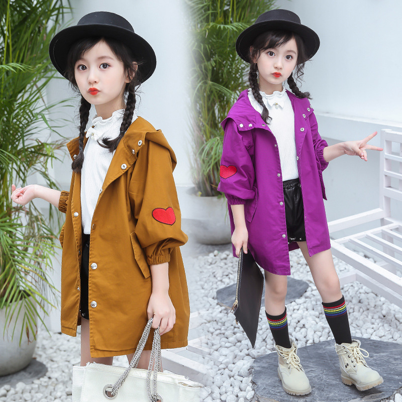 Hot Girls Jacket 2018 Korean Version of The New Style Spring /Autumn Girls Fashion Long Trench Coat Loose Sweet Casual Jacket hot style three points children quilted loose coat