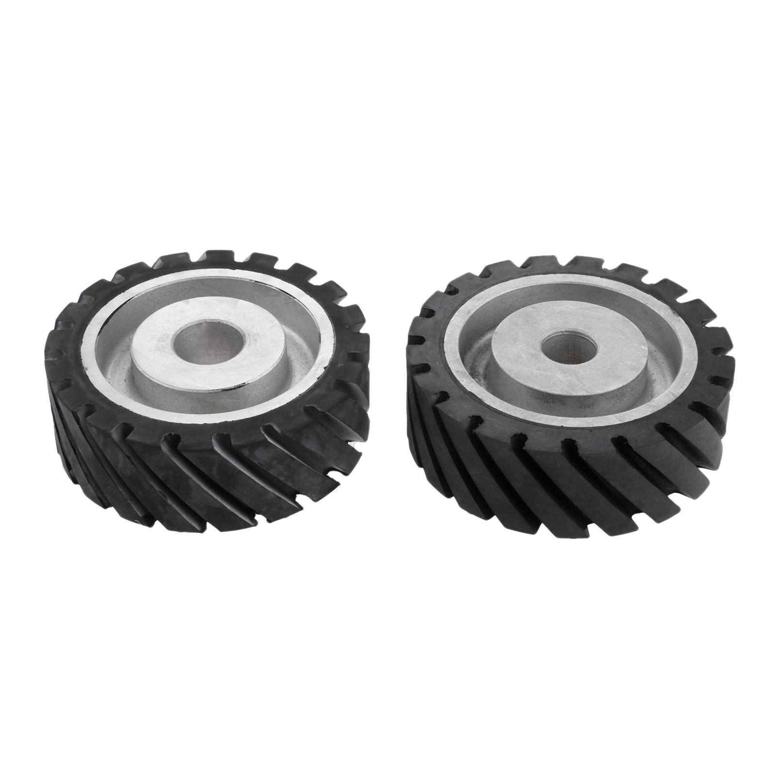 DRELD 150 50mm Serrated Rubber Contact Wheel For Belt Grinder Sander Dynamically Balanced Grinding Sanding Abrasive