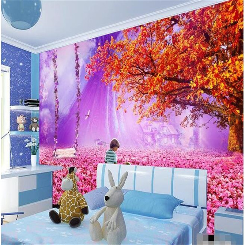 3d large wall wallpaper mural hd pink beautiful fairy tale for Fairy tale mural