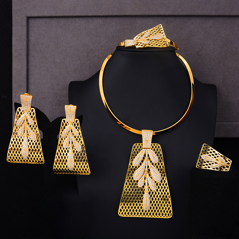 GODKI Luxury Party Square 4PCS Nigerian Jewelry Set For Women Wedding Zircon Indian African Bridal Jewelry