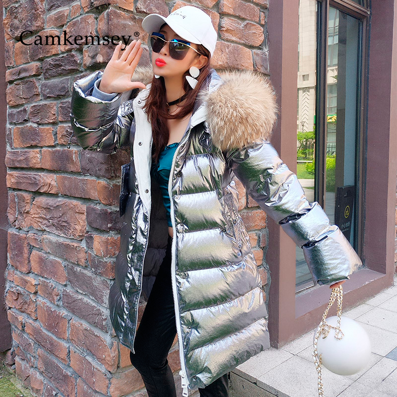 CamKemsey High Quality Real Fur Collar Winter Coats Women Metallic Silver Thick Warm White Duck Down Hooded Long Jackets   Parkas