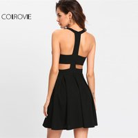 COLROVIE 2017 Winter Round Neck Dress Cut Out Y Back Box Pleated Fit And Flare Dress