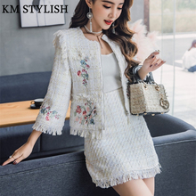 Autumn Women's 2018 New Set White Tweed Embroidered Jacket + Tasseled Hip Skirt Suit Two-piece Sets Women