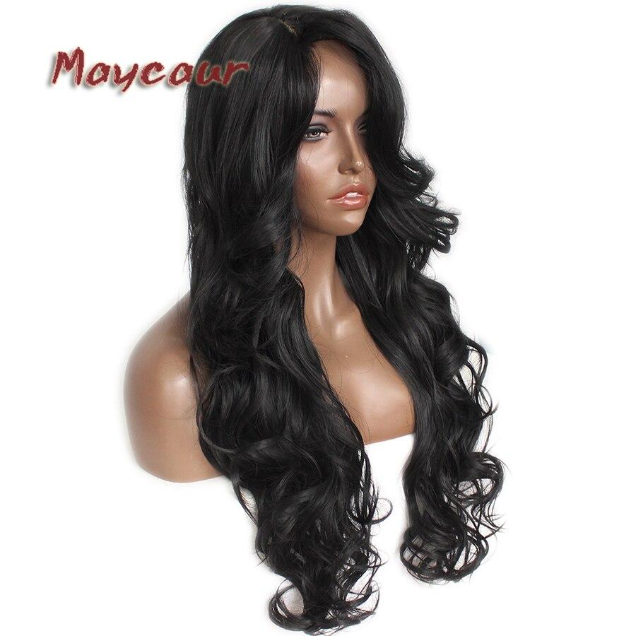 Glueless μαύρο μακρύ κυματιστό περούκα με - Συνθετικά μαλλιά - Φωτογραφία 2