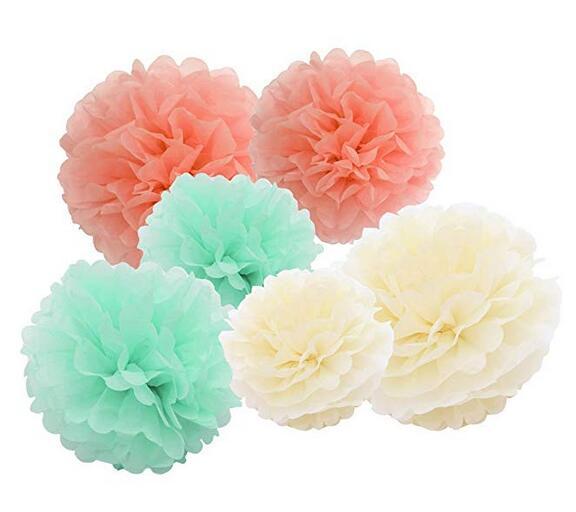 6pcs 27cm Christmas Tree Honeycombs Tissue Paper Trees: 6pcs Tissue Paper Pom Poms Cream Mint Peach Outdoor