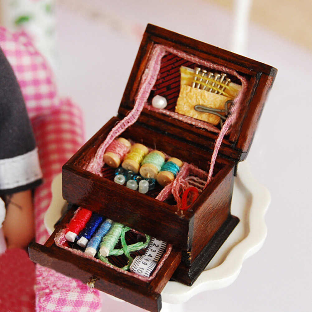 New 1:12 Vintage Sewing Needlework Needle Kit Box Dollhouse Miniature Decor Kids Gift for Doll Accessories