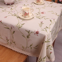 Beige Tablecloth Cotton Linen Fabric American Pastoral Countryside Branches Florals Table Cloth Cover