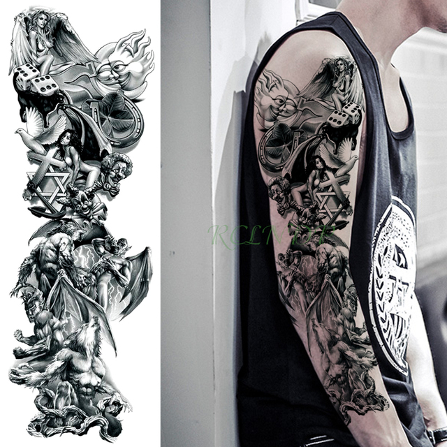 Tatuaje Temporal Resistente Al Agua Pegatina Lobo ángulo Ala Cruz