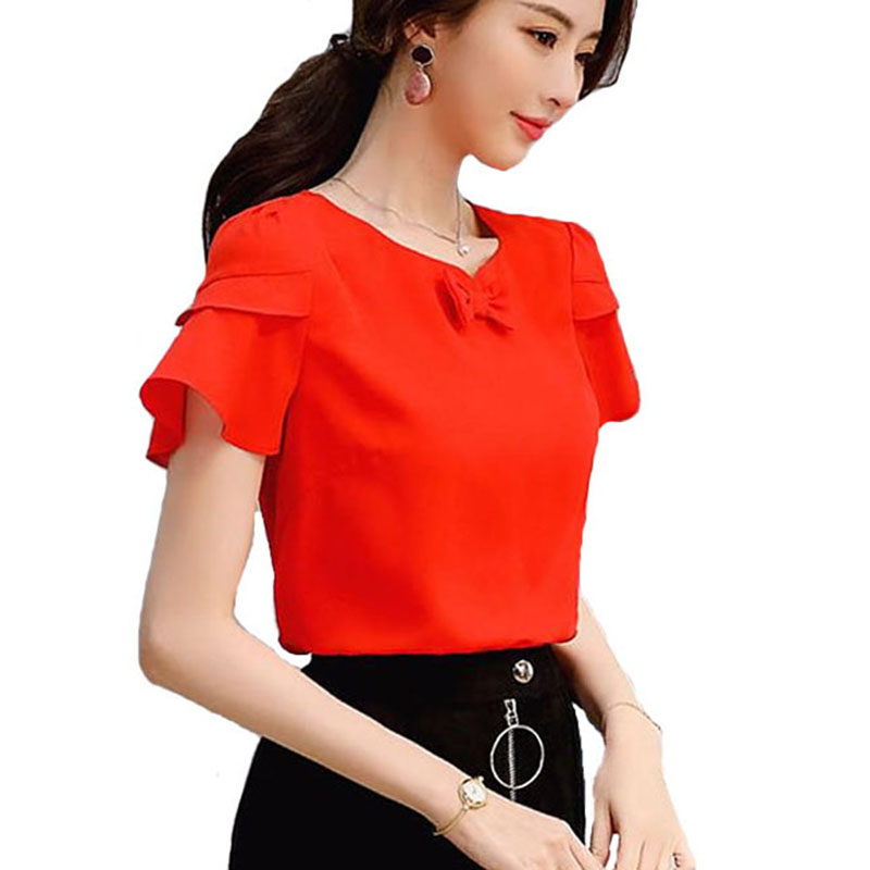 2018 Tops Summer Top Blouse Clothes Women Casual Tops Short Sleeve Chiffon Blouses Shirt Bow Back O-neck Blusas Feminina DF1455