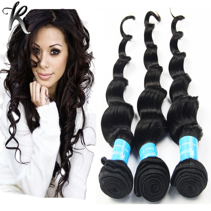 Brazilian Virgin Hair Loose Curls Weave Products Natural 1B Remy Hair Bundles Loose Deep Wave Human Hair 1pc Sample Sale 01L101