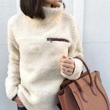 Fashion Turtleneck Sweater Women Pullover Tops Fluffy Fleece Warm Autumn Winter Long Sleeve Ladies Zip Solid Sweaters Jumper недорого