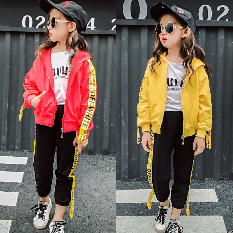 Girl Autumn New Product Dot Bring Motion Suit Candy Color Letter Printing Two Pieces Korean Kids Clothing Sets summer child suit new pattern girl korean salopettes twinset child fashion suit 2 pieces kids clothing sets suits