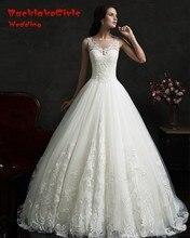Vestido De Noiva Renda Vintage Lace Princess Wedding Dress 2017 Custom made Ball Gown White Wedding Dress Robe De Mariage 2017