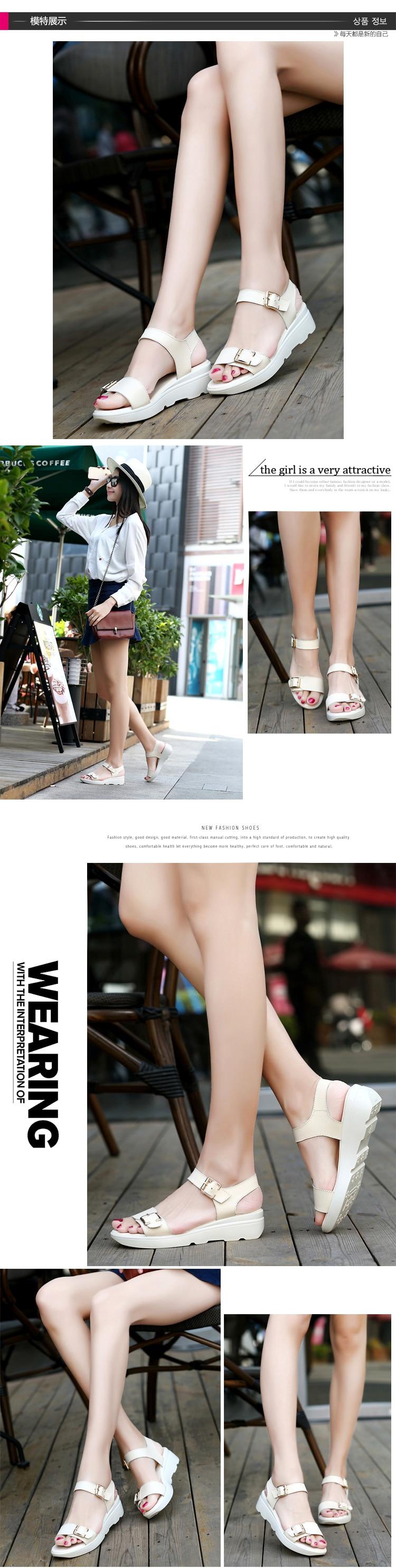 ULKN women Open Toe Platform Sandals women casual shoes Nwomen sandals PU Leather flat Sandals Low Wedges Summer Shoes 10