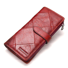 2019 Genuine Cowhide Leather Women Wallet Phone Pocket Purse Female Card Holder Lady Clutch Patchwork Carteira Feminina