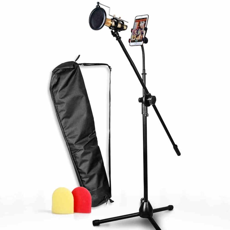 Гибкая 4 дюймов-6,3 дюймов телефон Tablet PC держатель с микрофоном клип трансляция штатив Стенд Регулируемый 65 см к 200 см