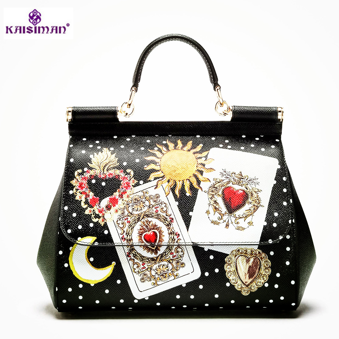 Luxury Italy Brand Sicily Ethnic Bag Genuine Leather Women Casual Tote Platinum Bags Star Moon Print Lady Shoulder Messenger Bag 2018 luxury brand trapeze platinum bags designer women cow leather shoulder bag scrub genuine leather messenger bag casual tote