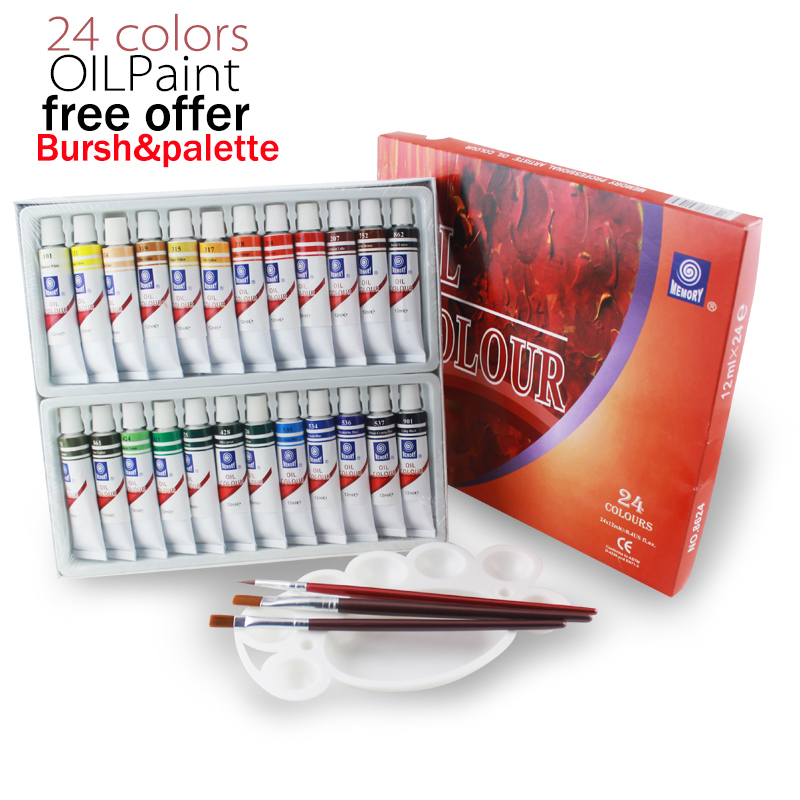 цена на Memory brand oil colors paints fine painting supplies 24 colours 12ml tube offer brushes for free
