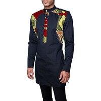 Patchwork men's africa clothing men dashiki shirts stand collar fashion long sleeve shirt custom made african clothes