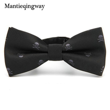 Mantieqingway Fashion Slim Bow Ties For Mens Business Suits Skinny Bow Tie Cravat Classic Black Design Skull Bowtie Boys Brand