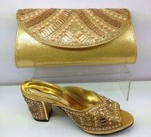 GOLD Frauen Schuhe und Tasche Set Italien Hochzeit Schuhe und Tasche High Heels Elegante Afrikanischen Stil Wachs Schuhe und Tasche Set für parteien