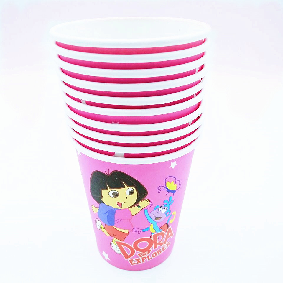 10pcs Dora The Explorer Cup Cartoon Theme Party For Children Girls Happy Birthday Decoration Theme Party Supplies Festival in Disposable Party Tableware from Home Garden