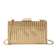 Fashion WomenS Bag 2019 Gold Box Chain Crossbody Bags Iron Hard-Surface Wedding Party Luxury Clutch Wallets Female Phone