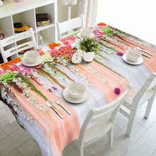Customizable Tablecloth 3d Classical Flowers Pattern Waterproof Cloth Thicken Rectangular and Round Table for Wedding