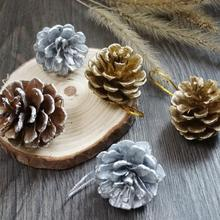 9pcs Christmas Decoration Pine Cones New Year Holiday Party