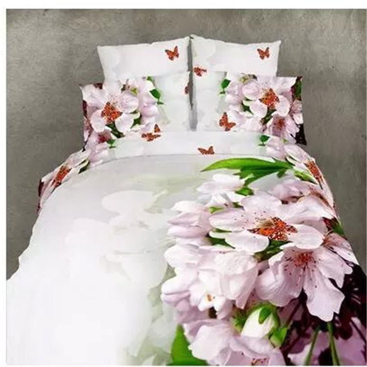 100% cotton 3d oil painting full queen size pink cherry blossom bedding without filler home textile set in a bag