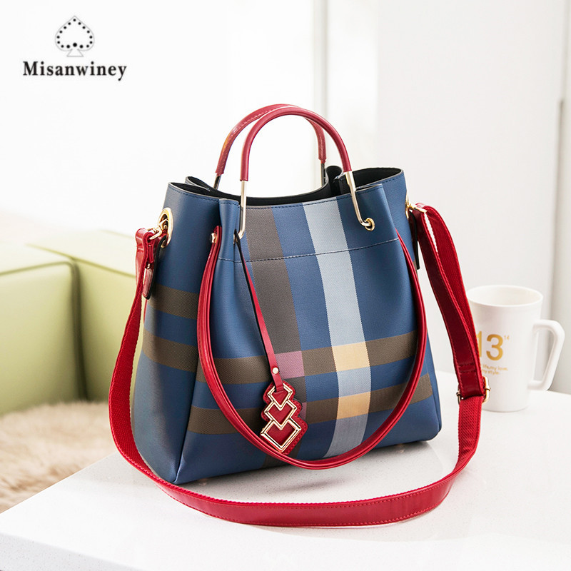 Luxury Brand Women Bag Leather Women Bucket Bag Plaid Stripe Crossbody Bags Diamond Lattice Handbag Casual Women Big Tote Bolsas znakomity plaid stripe shoulder bag genuine leather quilted bags handbag diamond lattice leather quilted messenger crossbody bag