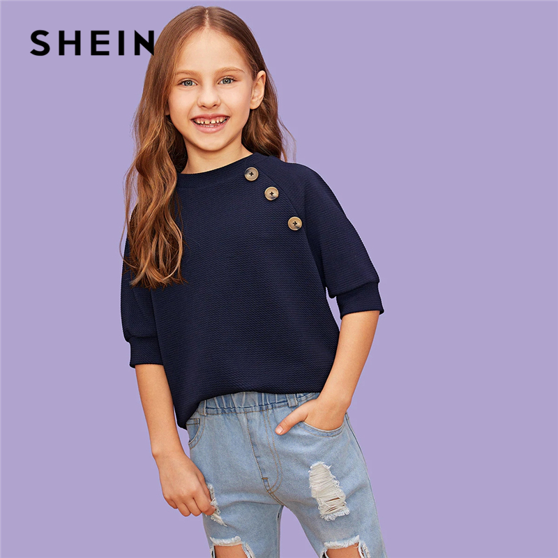 SHEIN Kiddie Navy Solid Girls Button Front Blouse Shirts Kids Clothing 2019 Summer Half Sleeve Casual Shirts For Girls Tops hollow out solid color blouse