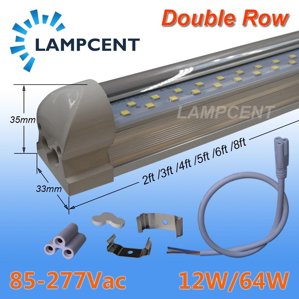 Double Rangée puces LED 2FT 3FT 4FT 5FT 6FT 8FT T8 LED Tube Ampoule 50/70/100 Pack