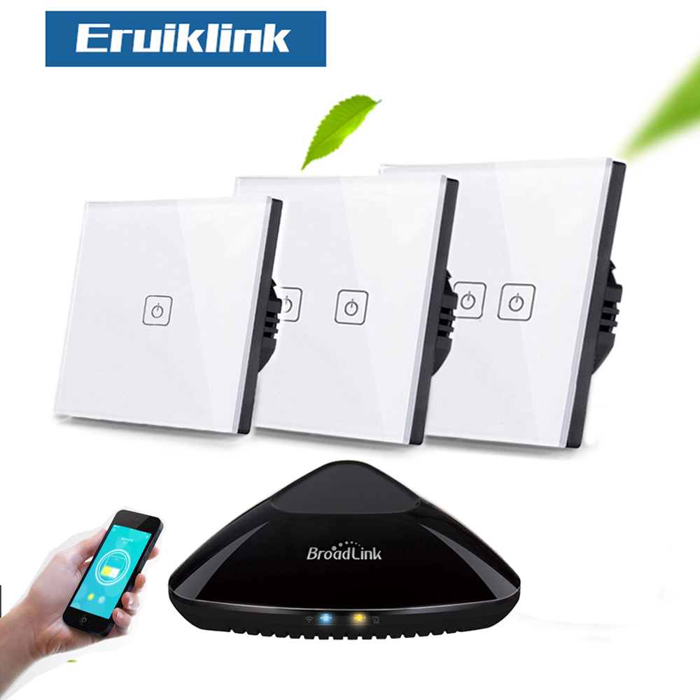 Eruiklink  EU/UK Standard 1/2/3 Gang RF433 Remote Control Wall Touch Switch, Smart Home Wireless Remote Control Light Switches